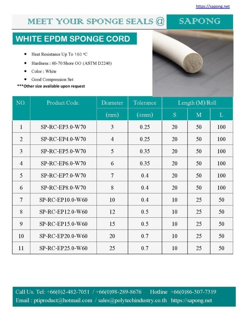 จำหน่ายยางฟองน้ำกลม  EPDM สีขาว white EPDM SPONGE CORD.jpg