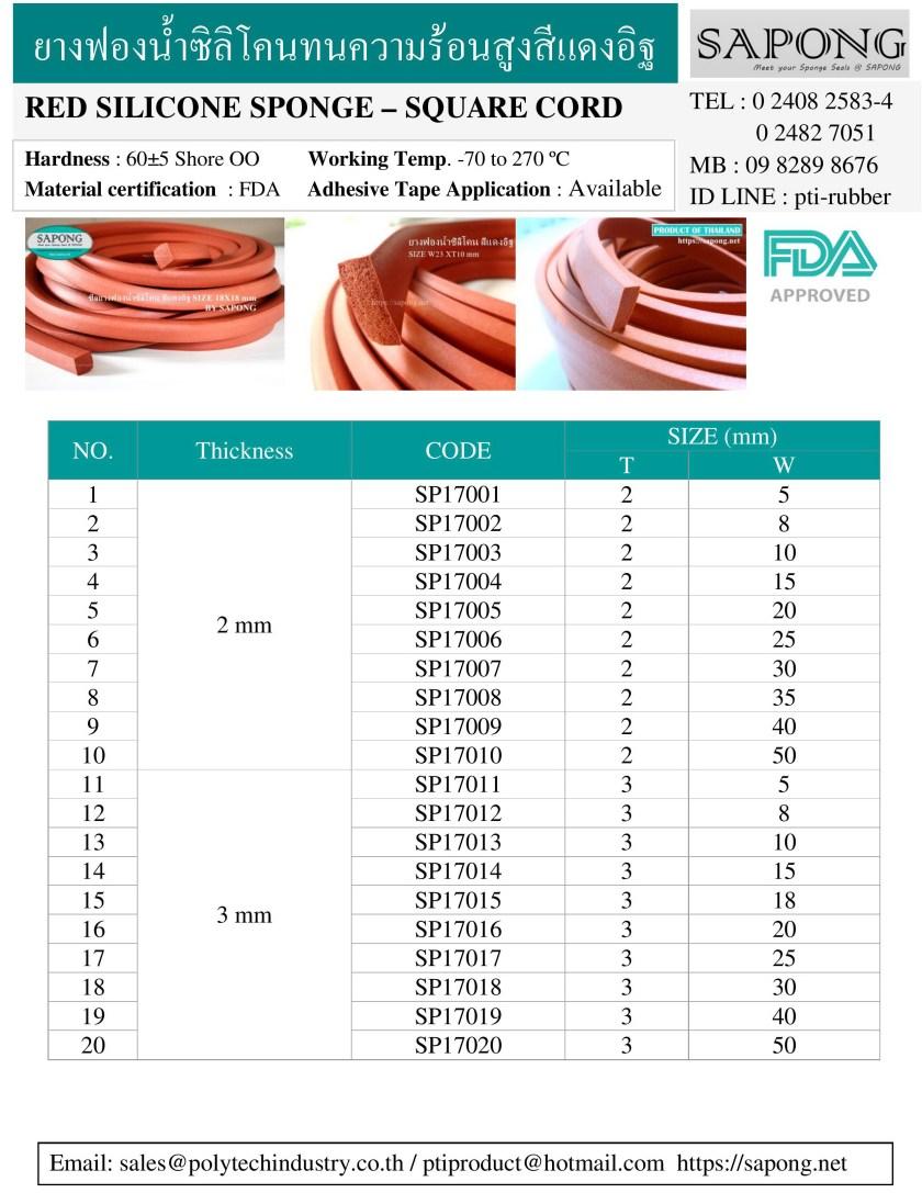 ซีลยางฟองน้ำทนความร้อนสูง 270 C 2 mm 3 mm