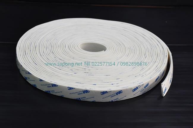 ยางฟองน้ำซิลิโคนสีขาวติดเทปกาว SIZE 25x3 mm