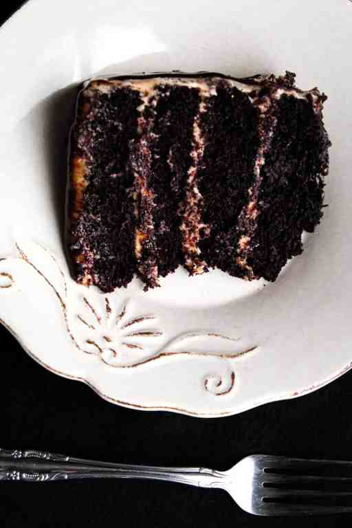 layered cake with plate and fork