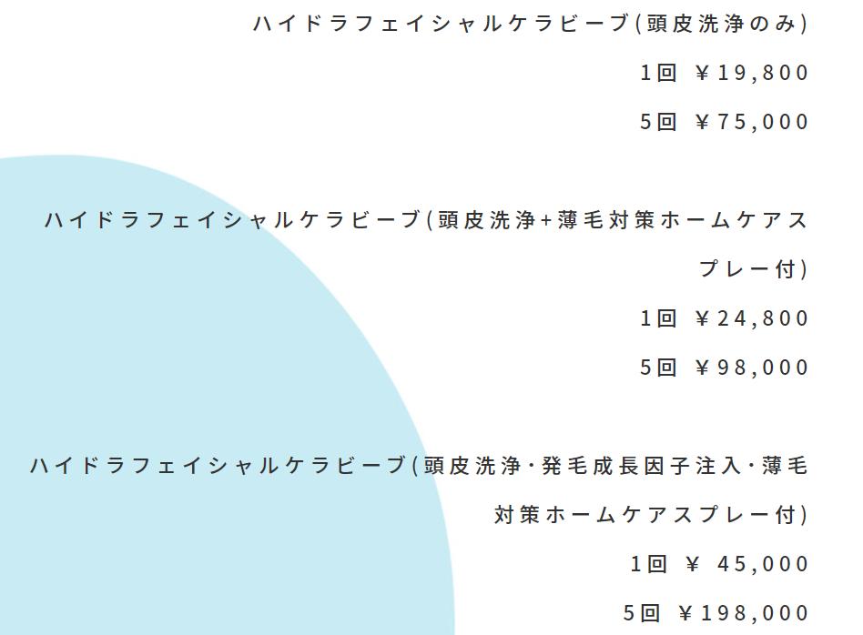 ハイドラフェイシャルケラビーブ(頭皮洗浄のみ) 1回 ¥19,800 5回 ¥75,000 ハイドラフェイシャルケラビーブ(頭皮洗浄+薄毛対策ホームケアスプレー付) 1回 ¥24,800 5回 ¥98,000 ハイドラフェイシャルケラビーブ(頭皮洗浄・発毛成長因子注入・薄毛対策ホームケアスプレー付) 1回 ¥ 45,000 5回 ¥198,000