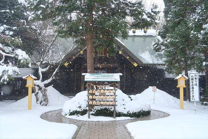 琴似神社 社殿 冬
