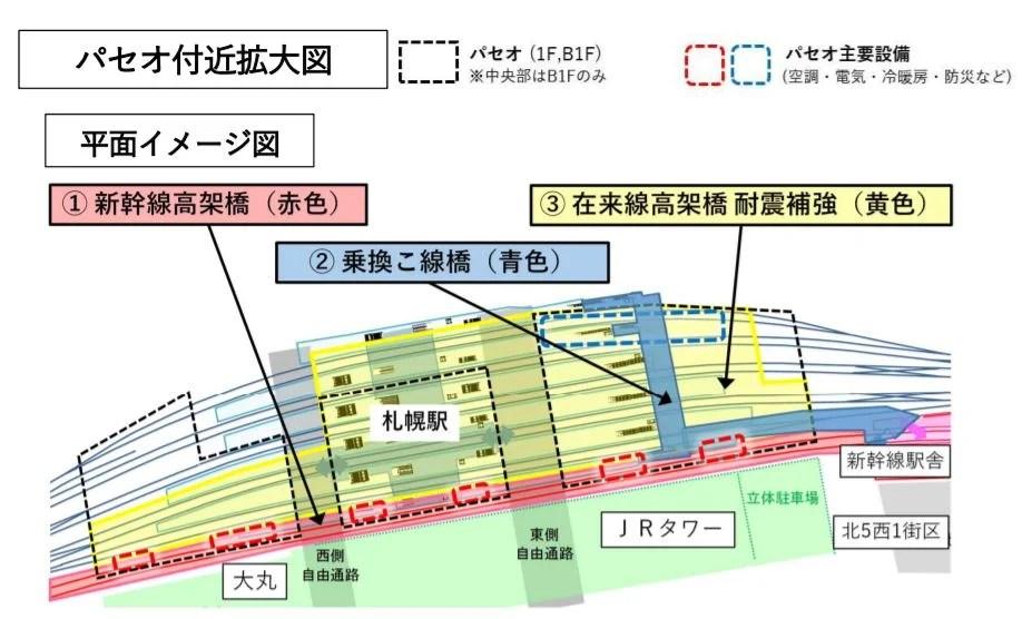 パセオから新幹線駅へのこ線橋