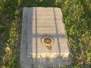 """A historical marker near Taft and Division Streets marks the nearby Sapulpa Family Cemetery two blocks south where one can read the headstone """"Our City Named for Chief Sapulpa, Early Creek Leader."""""""