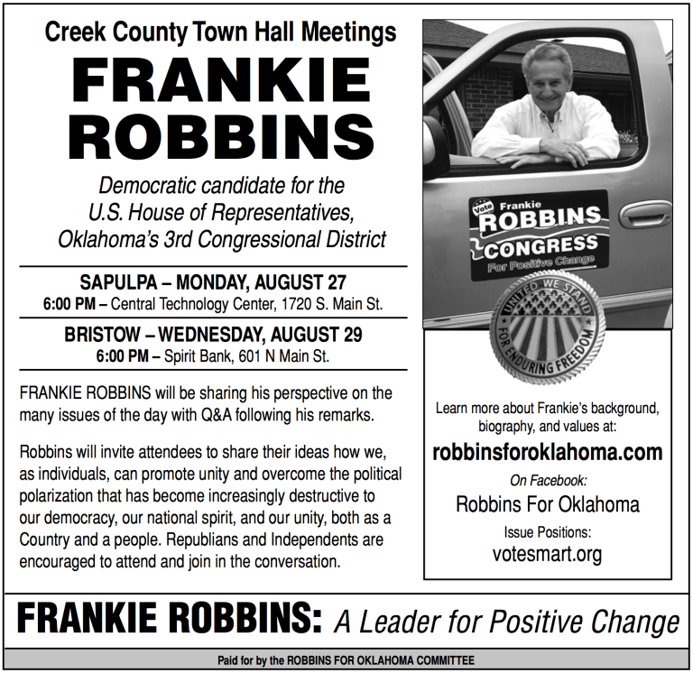 Dem. Congress Candidate Frankie Robbins will hold a Town Hall on Monday