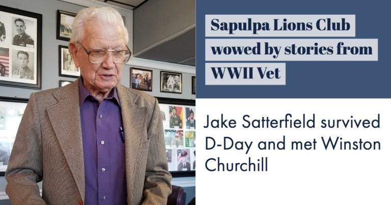 Sapulpa Lions Club were awestruck by the stories that they heard from this WW2 Vet