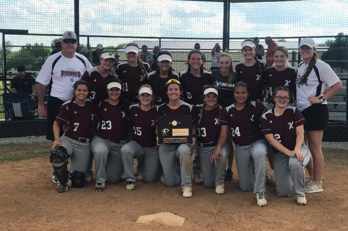 Kellyville Slow Pitch Softball Team poses for a photo after winning the regional championship.