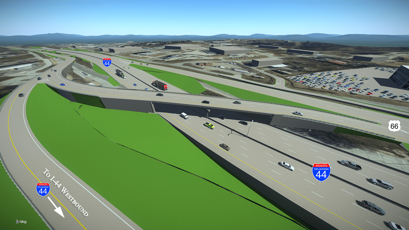 This 3D rendering of the proposed new construction includes a standard diamond interchange at 49th W. Ave. near the Town West shopping center, a ramp going over the Turner Turnpike, with a right-lane entrance for travelers heading west on Highway 66.