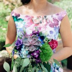 Whimsical bridesmaid with stunning summer succulent bouquet | Anderson Japanese Gardens