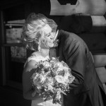 Bride and Groom first look at Kilbuck Creek at their fall wedding photographed by Sara Johnson Photography