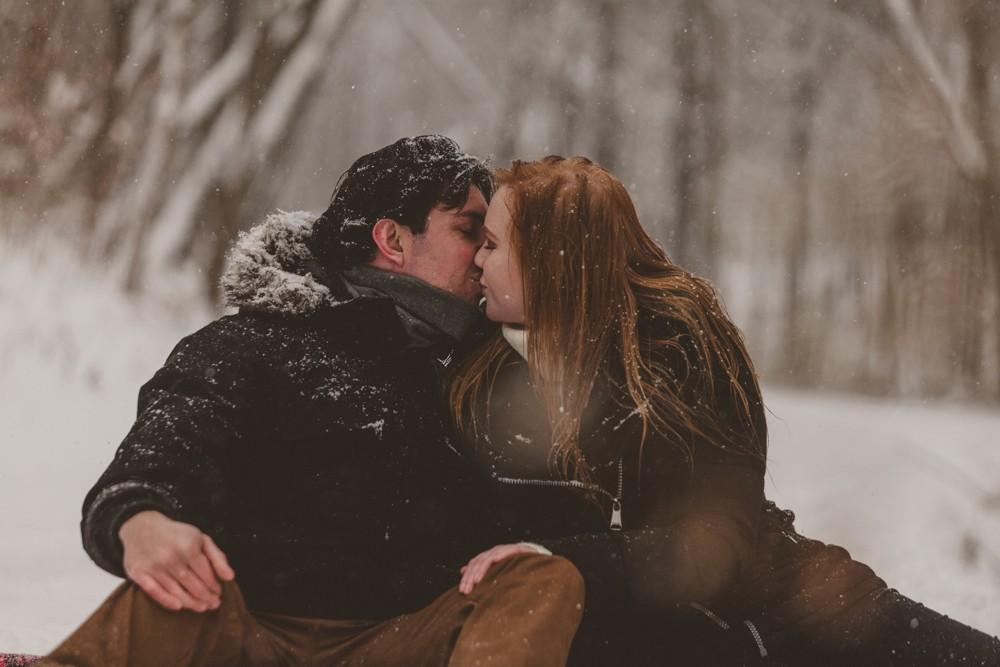 Northern Illinois surprise winter wonderland proposal session photographed by Sara Anne Johnson - Sara Johnson Photography