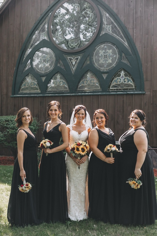 Romantic black and gray wedding with vintage open back lace dress at Church by the Side of the Road in Rockton, IL by Sara Anne Johnson