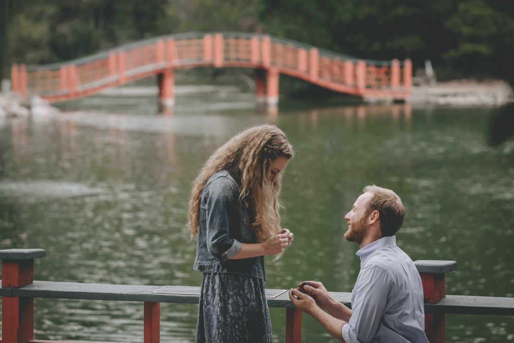 Surprise proposal at Rotary Botanical Gardens in Janesville, WI