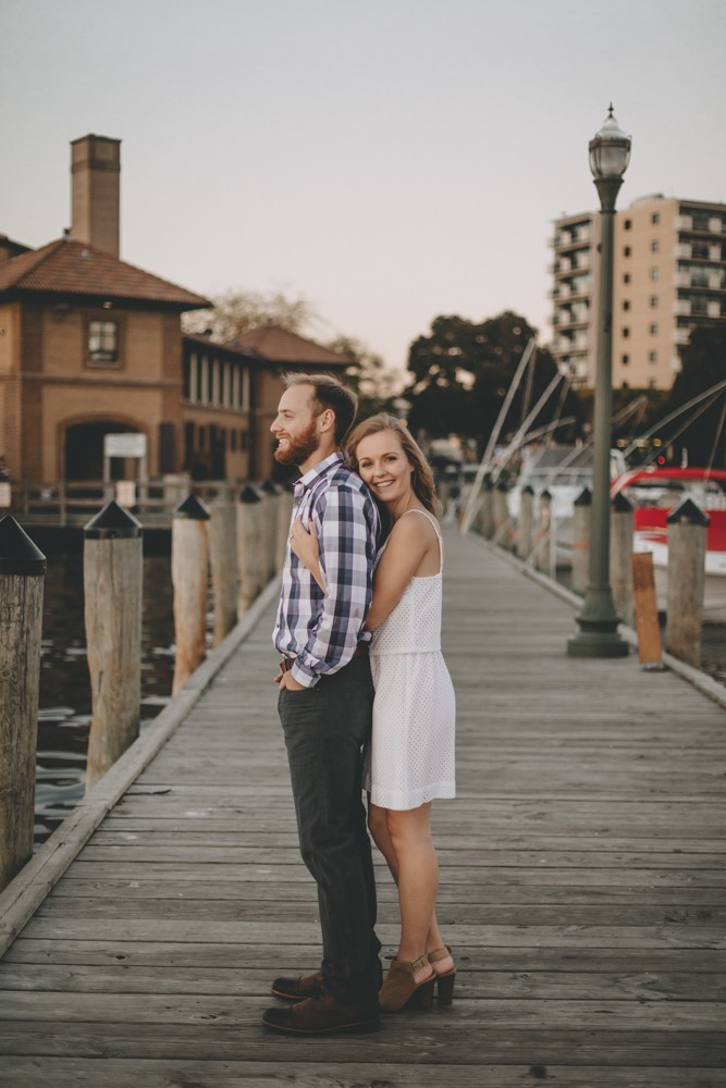 Romantic Lake Geneva, Wisconsin engagement session by the lake.