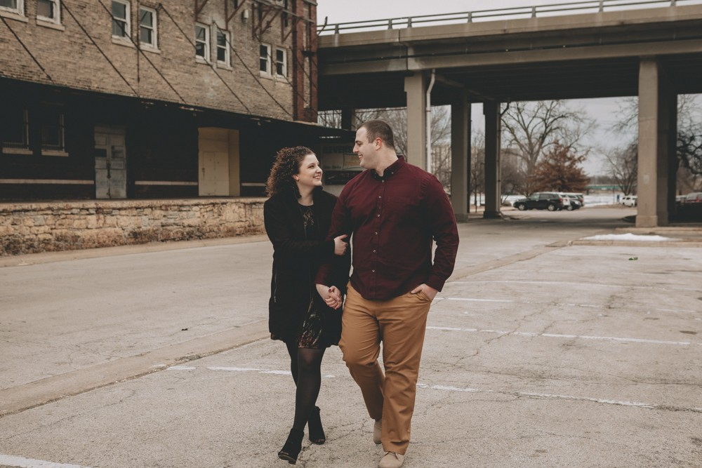 Winter engagement session at Carlyle Brewing Company Downtown Rockford, IL by Sara Anne Johnson