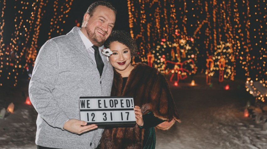 New Year's Eve Winter Elopement with emerald velvet gown at Rotary Botanical Gardens by Sara Anne Johnson
