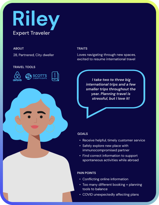 Persona for Riley, the experienced traveler