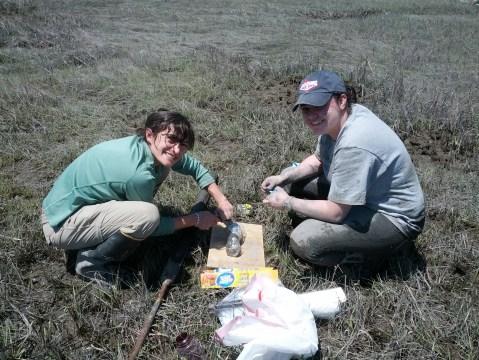 Cutting up sediment cores.