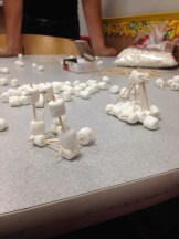 Marshmallow houses made by our girls in the Girls Science Club.