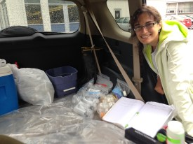 Make shift lab in a car when it was raining.