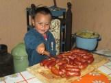 Kevin cutting the chorizo