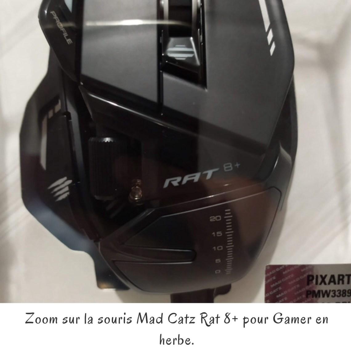 Zoom sur la souris Mad Catz Rat 8+ pour Gamer en herbe.