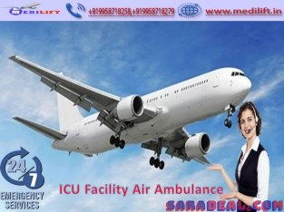 Medilift Air Ambulance Service in Jamshedpur with Medical Tool