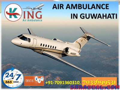 King Air Ambulance Guwahati to Delhi at Low Price