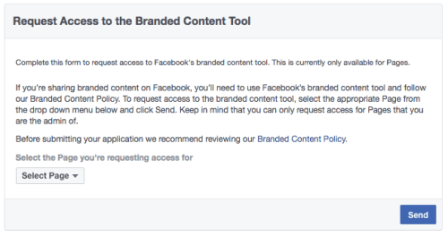 Facebook Branded Content Tool Application