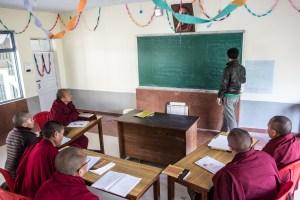 Monks and nuns in a teacher training class