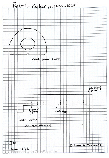 17th century rebato pattern jacobean bendall