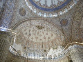 The inside dome of the Blue Mosque