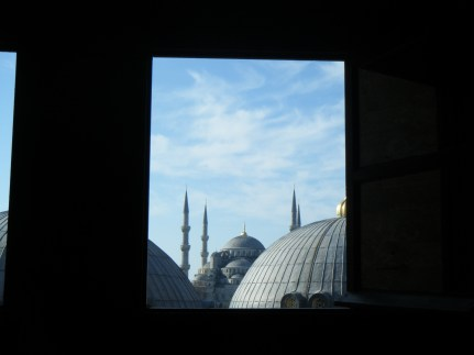 Sneaky view from the Hagia Sophia to the Blue Mosque