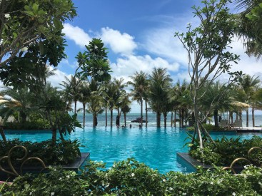 JW Marriott Resort, Phu Quoc, where we stayed (for free) for two nights with a high school friend of mine. A shock from our usual travel style……..