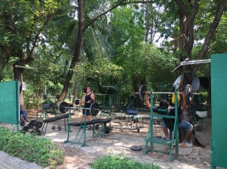 Westerners pumping iron in Lumpini Park.