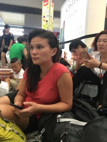 Sarah and I waited for our train to Nanjing on the floor of the Shanghai train station.