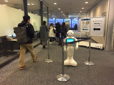 Airport robot greeting