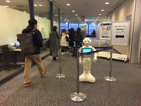 Airport robot greeting
