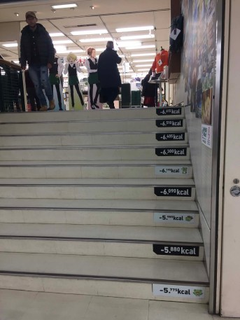 Stairways in malls sometimes have calorie counters