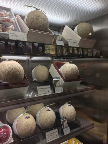 Cantaloupes for sale, some are a couple hundred dollars each