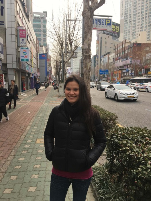 Sarah chilling in Busan. Reminds us of China in this photo.