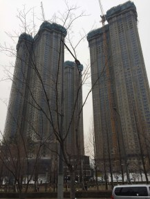 Dystopian apartment buildings.