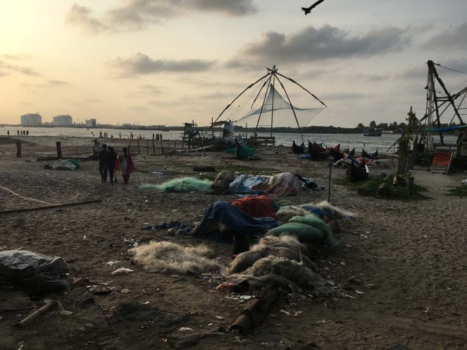 Beach with Chinese fishing nets in Fort Kochi. Lots of hawkers and tourists and so much energy.
