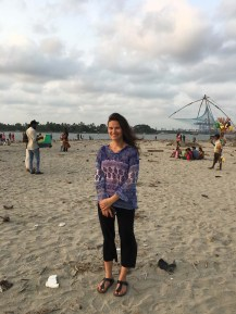 Sarah posing on the Fort Kochi beach.
