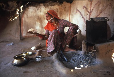 A Bishnoi woman making chapatis, Rajasthan, India