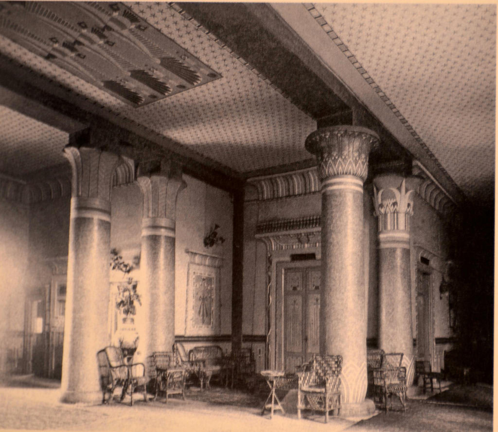 Grand Lobby, Shepheard's Hotel, Cairo, Egypt. Undated photo