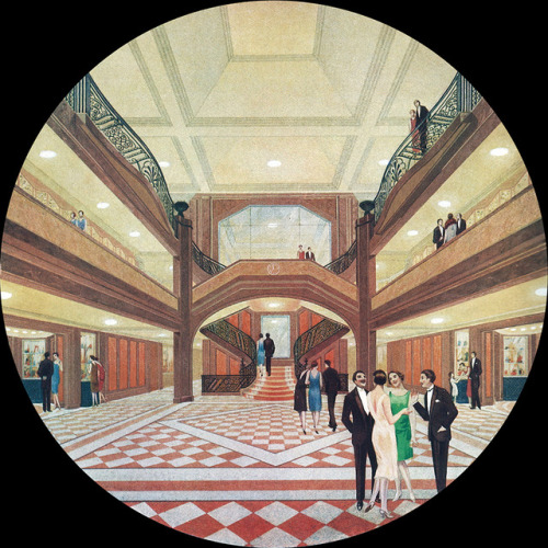 First class vestibule on the SS Ile de France.  1926 Artist's impression.