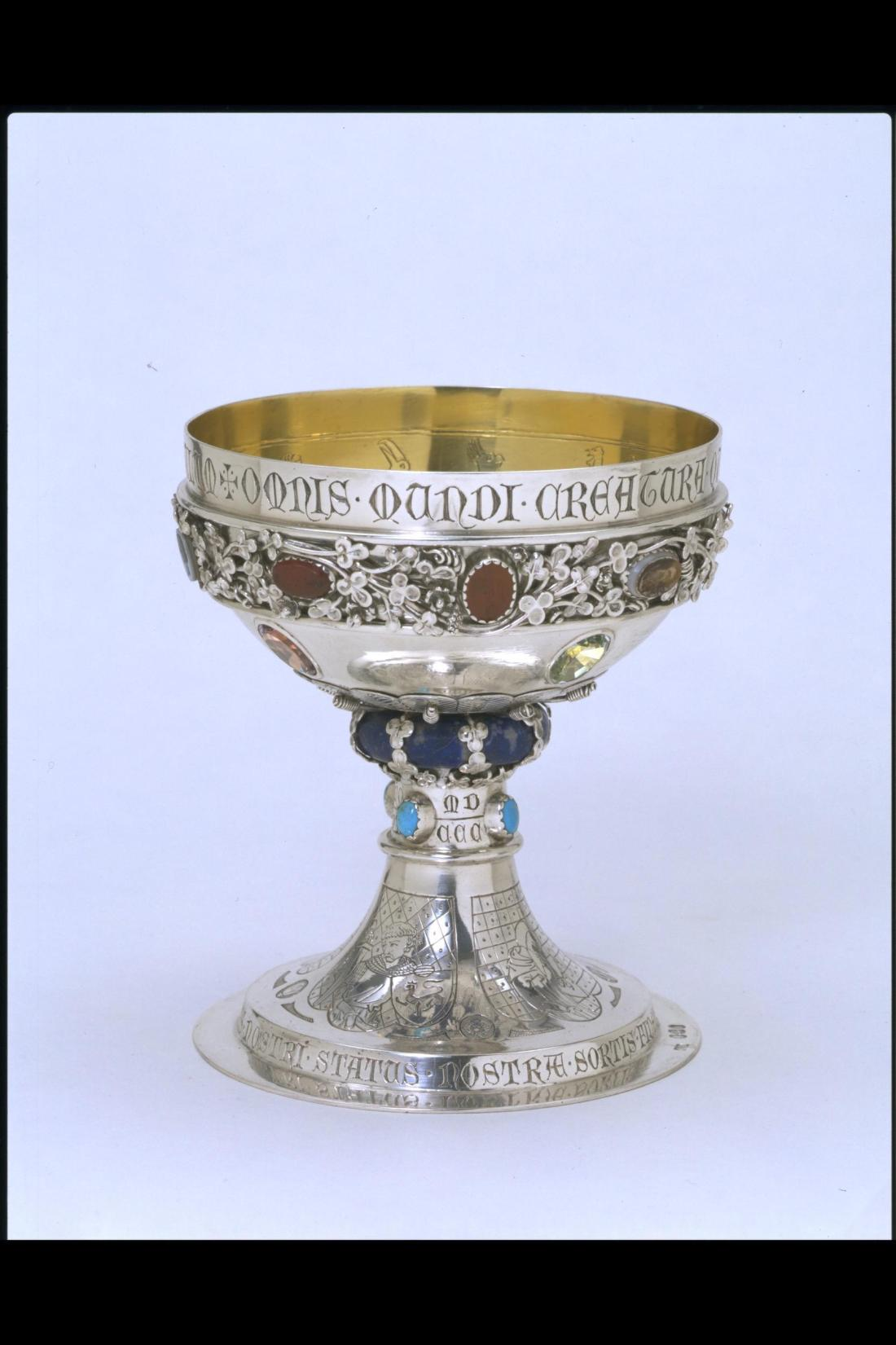 Cup. 1863-64. Silver and parcel-gilt set with applied ornament and enameled.