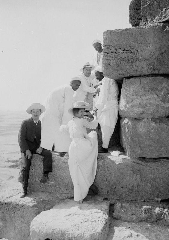 Visiting the pyramids. ca. 1900.