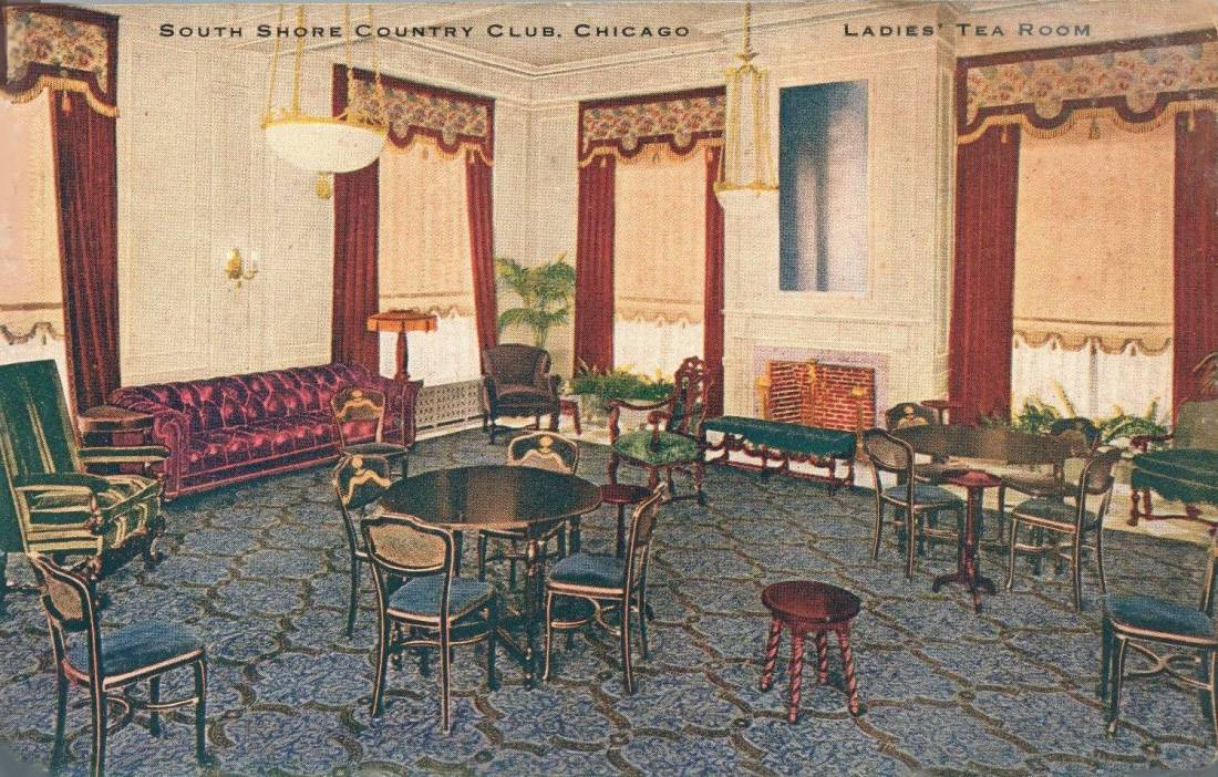 Ladies' tea room. South Shore Country Club, Chicago, Illinois. 1910's.
